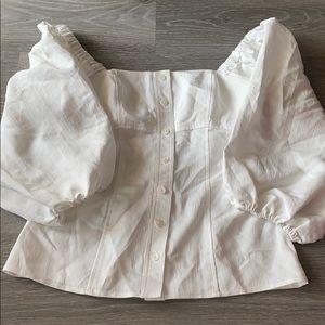 White puff sleeve blouse